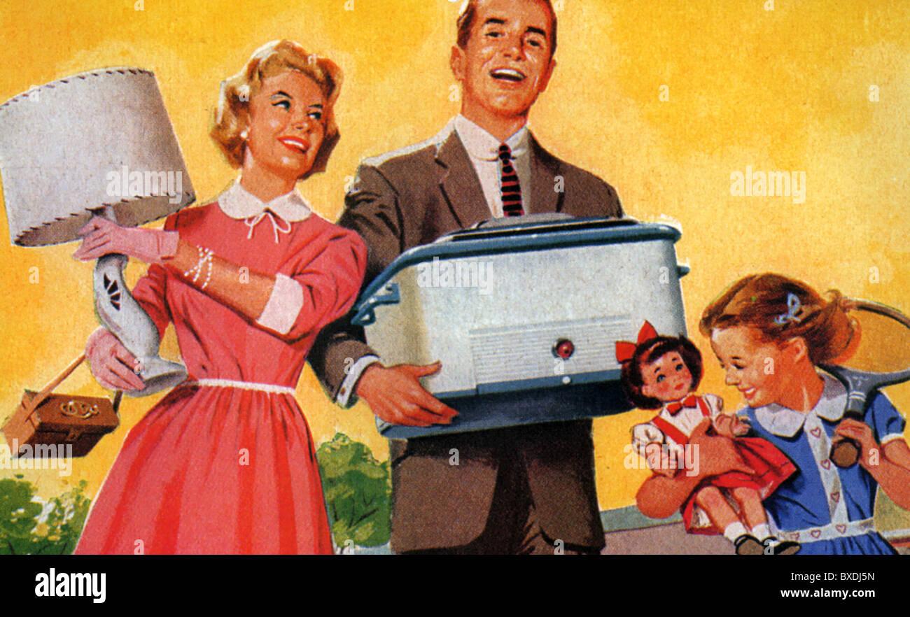 1956 AMERICAN FAMILY Stock Photo