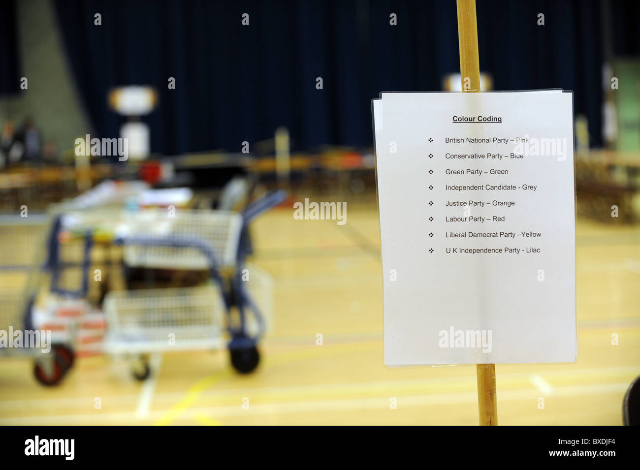 2010 General Election count held at the K2 Leisure Centre in Crawley - Colour codes for the count - Stock Image