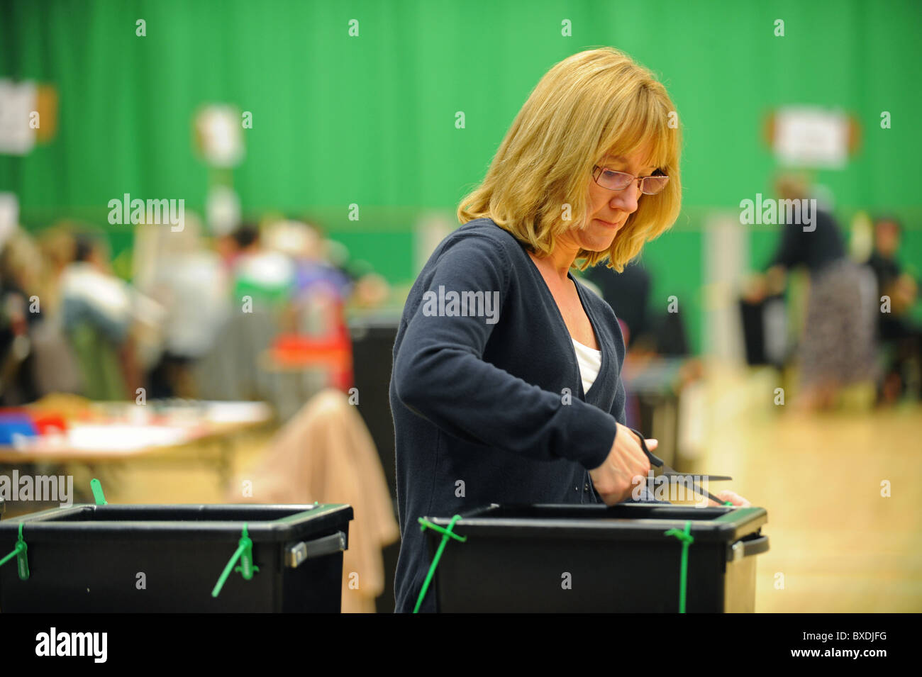 2010 General Election count held at the K2 Leisure Centre in Crawley - The ballot boxes are opened - Stock Image