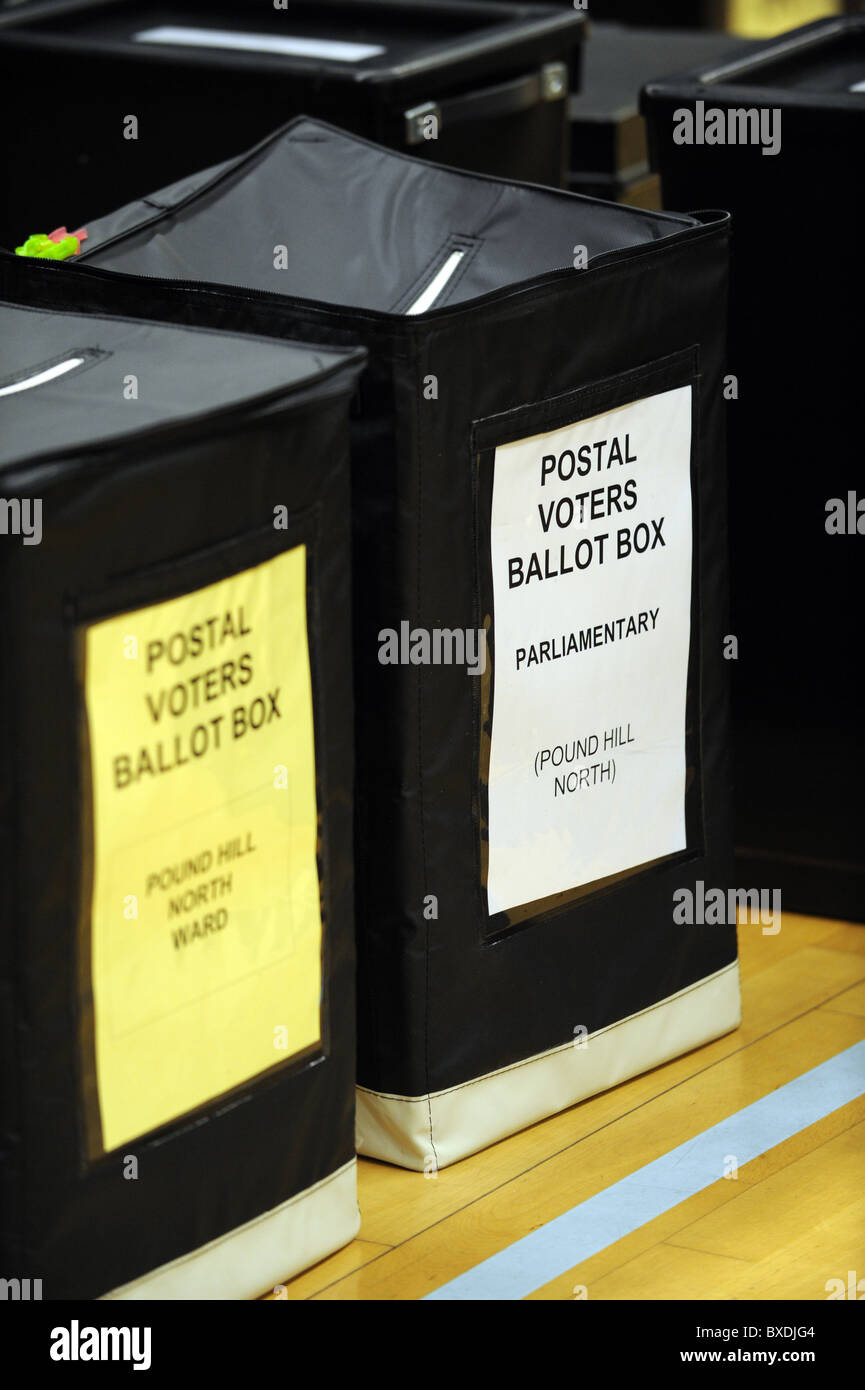 2010 General Election count held at the K2 Leisure Centre in Crawley - Unopened ballot boxes - Stock Image