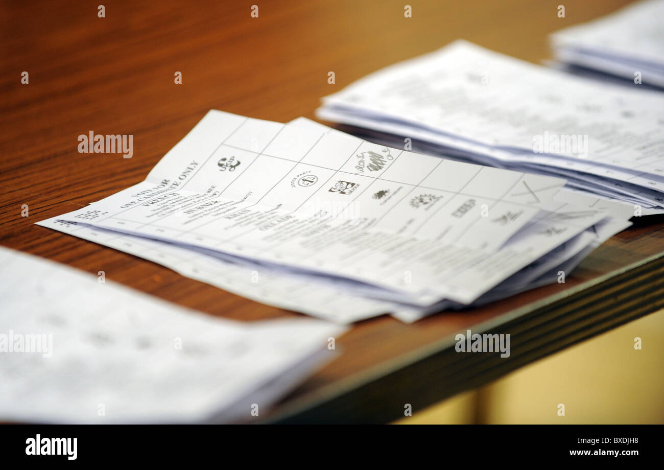 2010 General Election count held at the K2 Leisure Centre in Crawley - A spoilt ballot paper - Stock Image