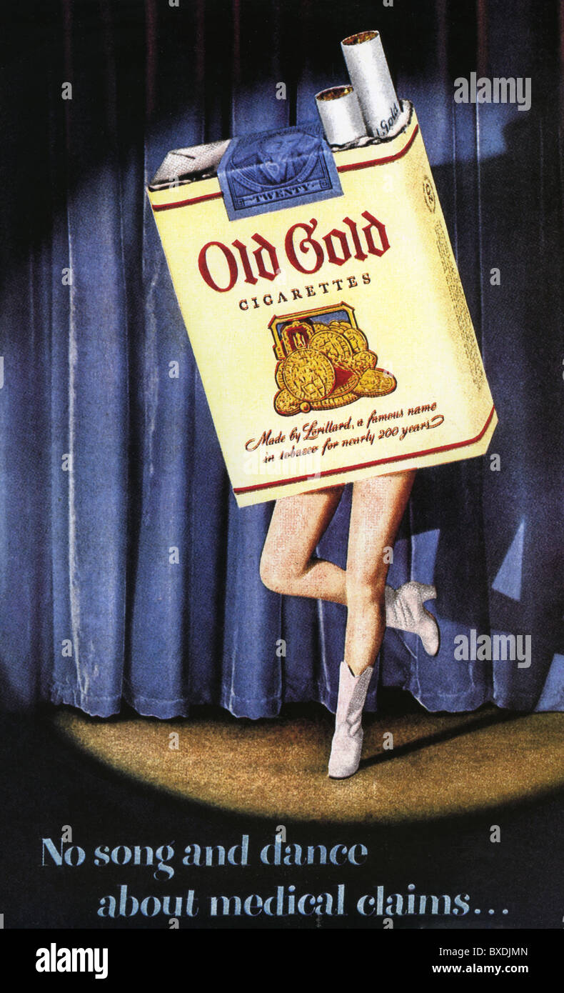 OLD GOLD CIGARETTES ADVERT 1950 - Stock Image
