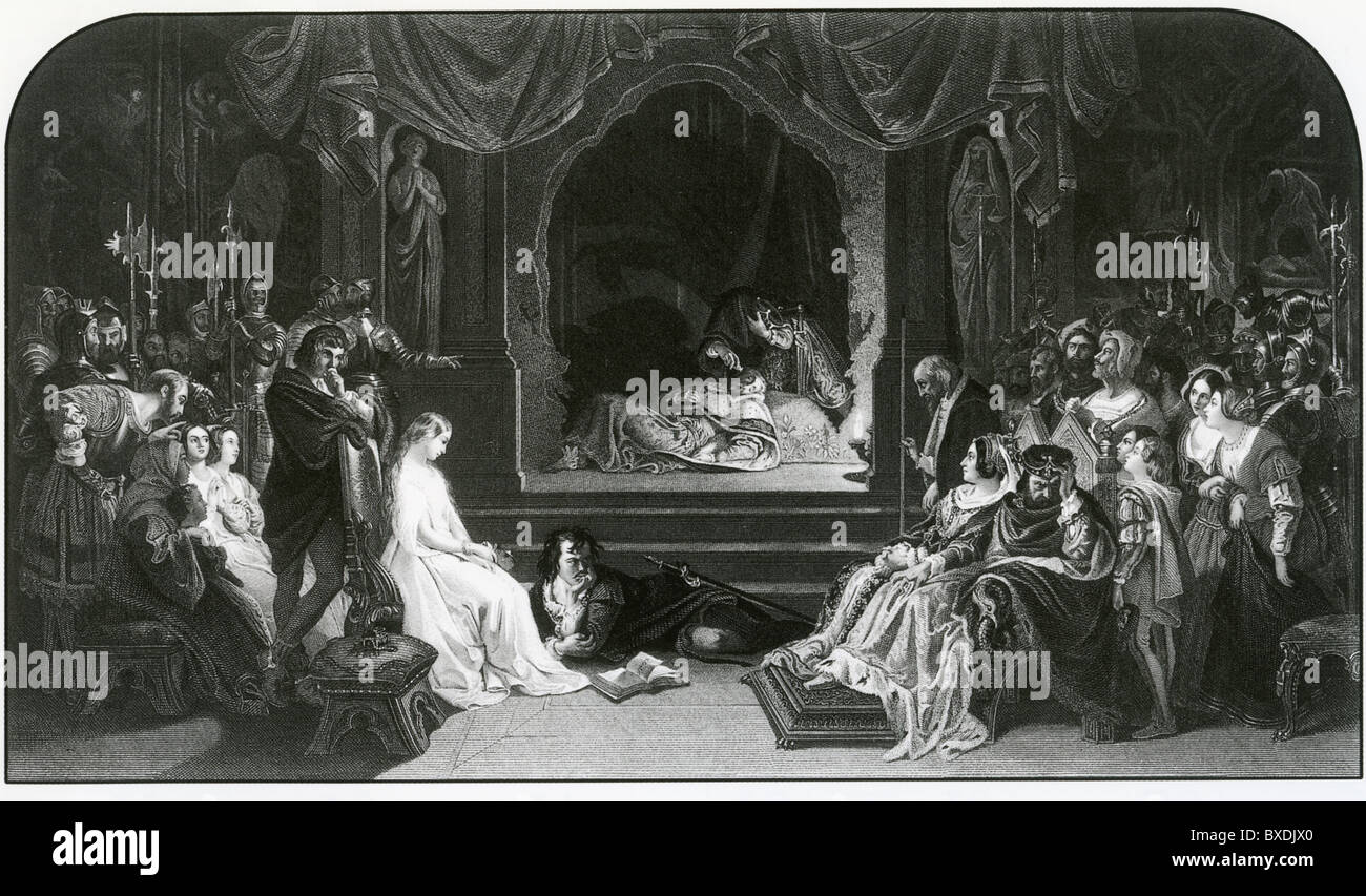 HAMLET The play scene engraved by Charles Rolls after the 1842 painting by Irish artist Daniel Maclise (1806-1870) - Stock Image