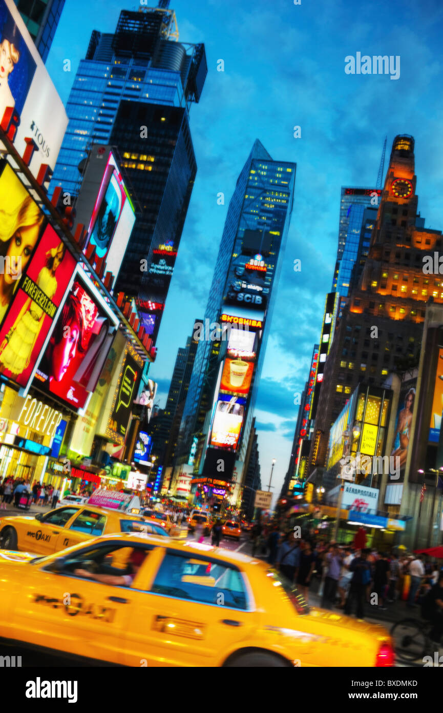 Times Square New York City at dusk - Stock Image
