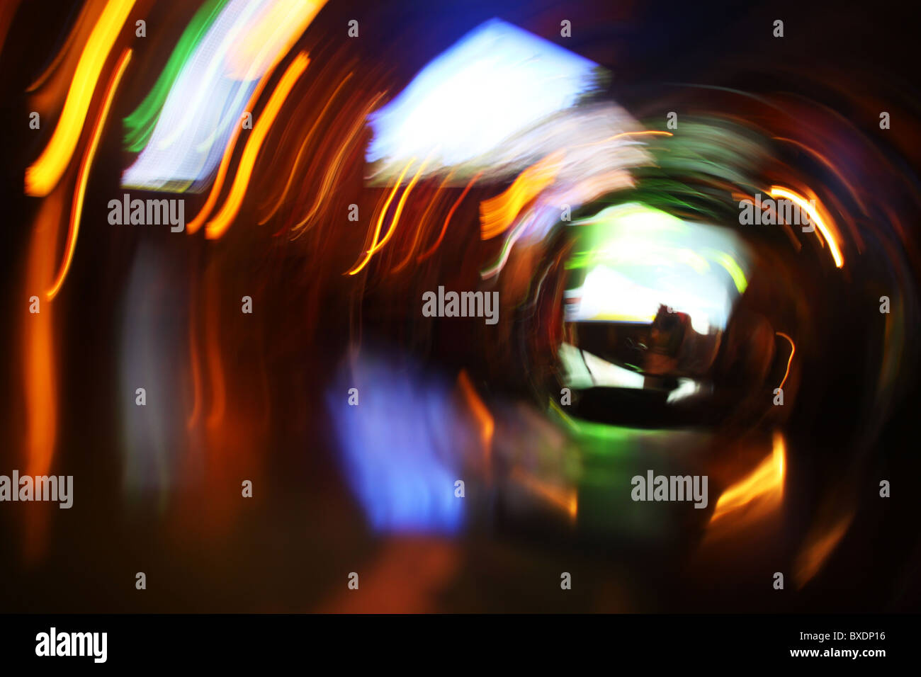 Abstract light trails blur of bar at night - Stock Image