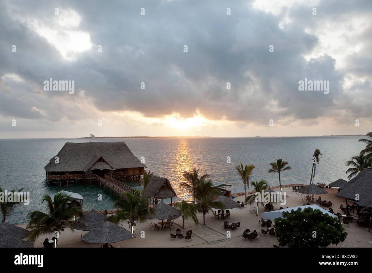 Sunrise over the Indian Ocean in Dar es Salaam, Tanzania, East Africa. - Stock Image