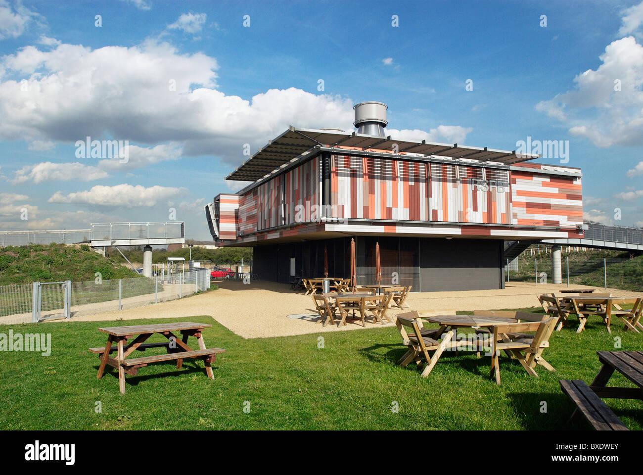 Eco-friendly architecture at RSPB centre Rainham Marshes Essex UK - Stock Image