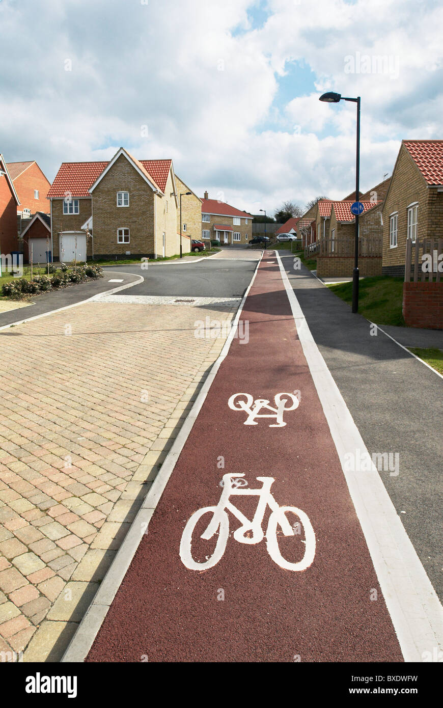 Cycle path implemented into a housing development Hadleigh Suffolk UK - Stock Image