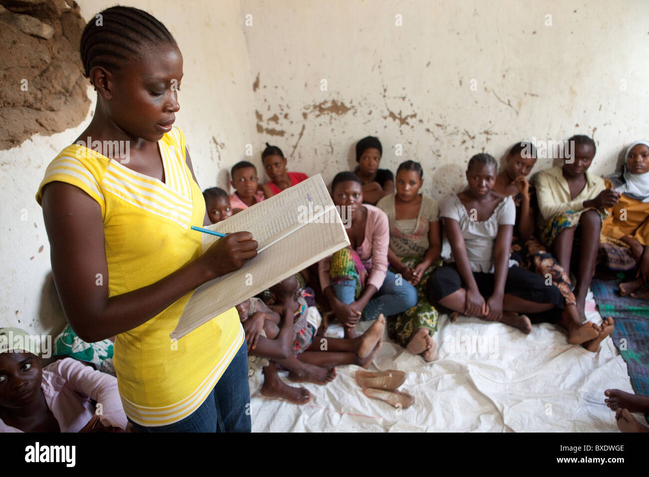 Girls attend an after-school adolescent development program in Dodoma, Tanzania, East Africa. - Stock Image