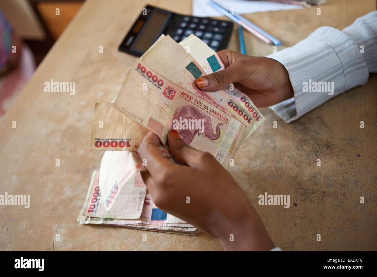 An accountant counts cash (Tanzanian Shillings) in Dodoma, Tanzania, East Africa. - Stock Image