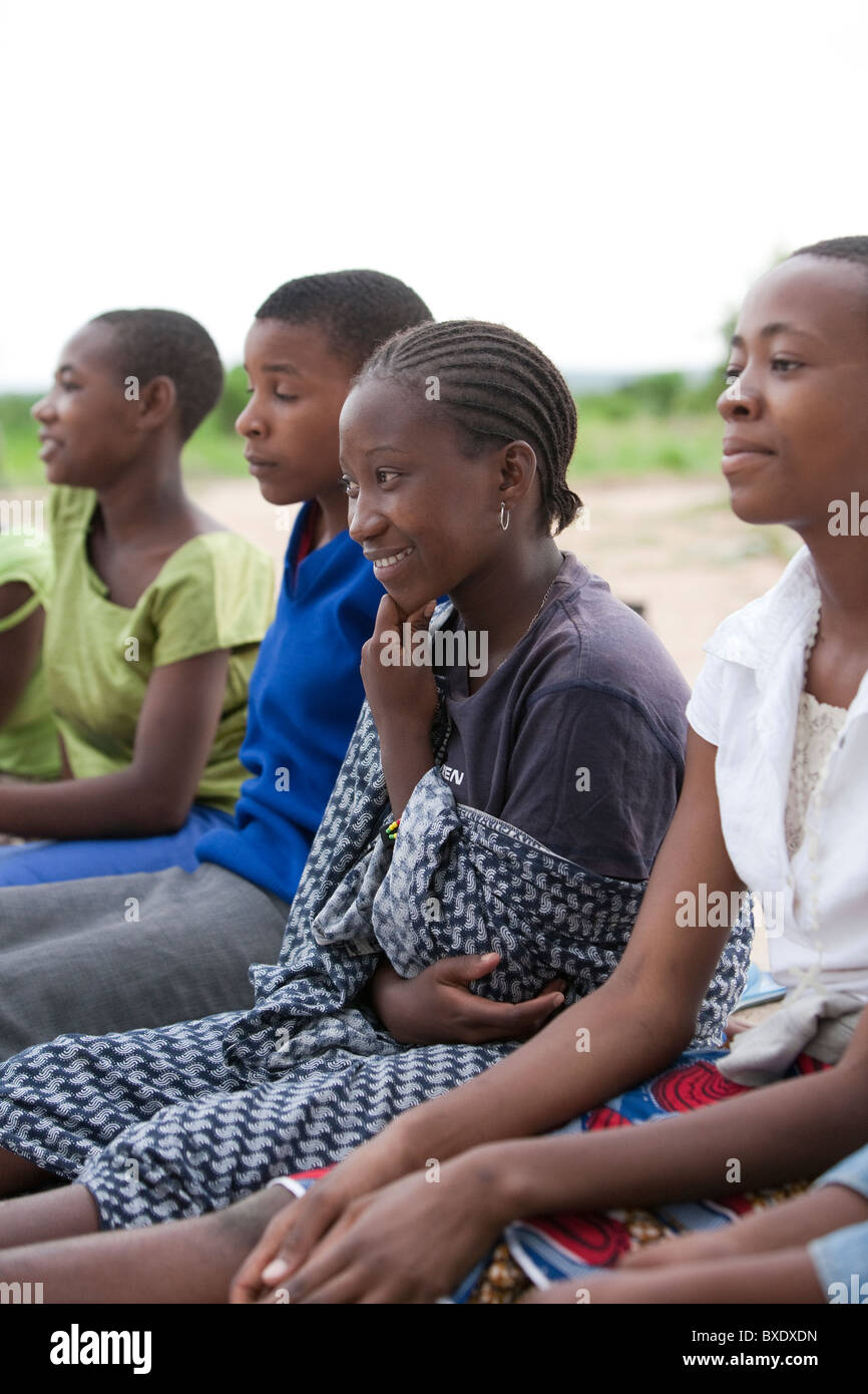 Adolescent girls attend an after school program in Dodoma, Tanzania, East Africa. - Stock Image
