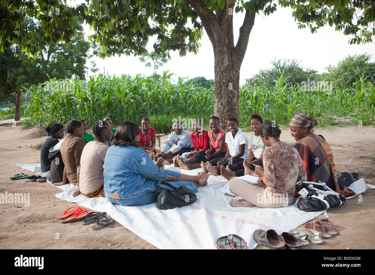 Women attend a community meeting in Dodoma, Tanzania, East Africa. Stock Photo
