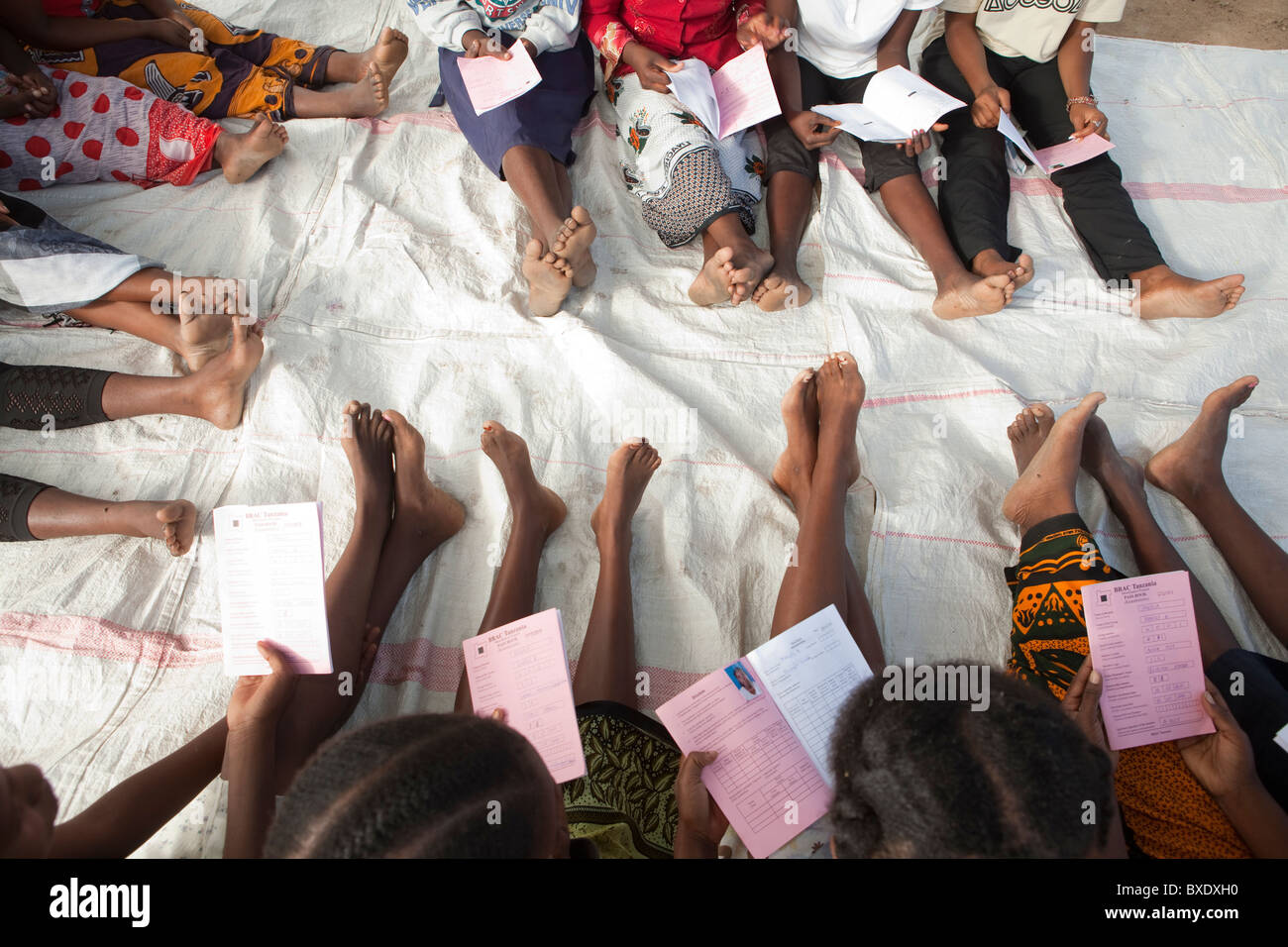 Women attend a community meeting in Dodoma, Tanzania, East Africa. - Stock Image