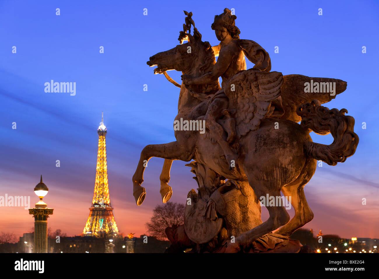 Paris, Jardin des Tuileries and Eiffel Tower - Stock Image