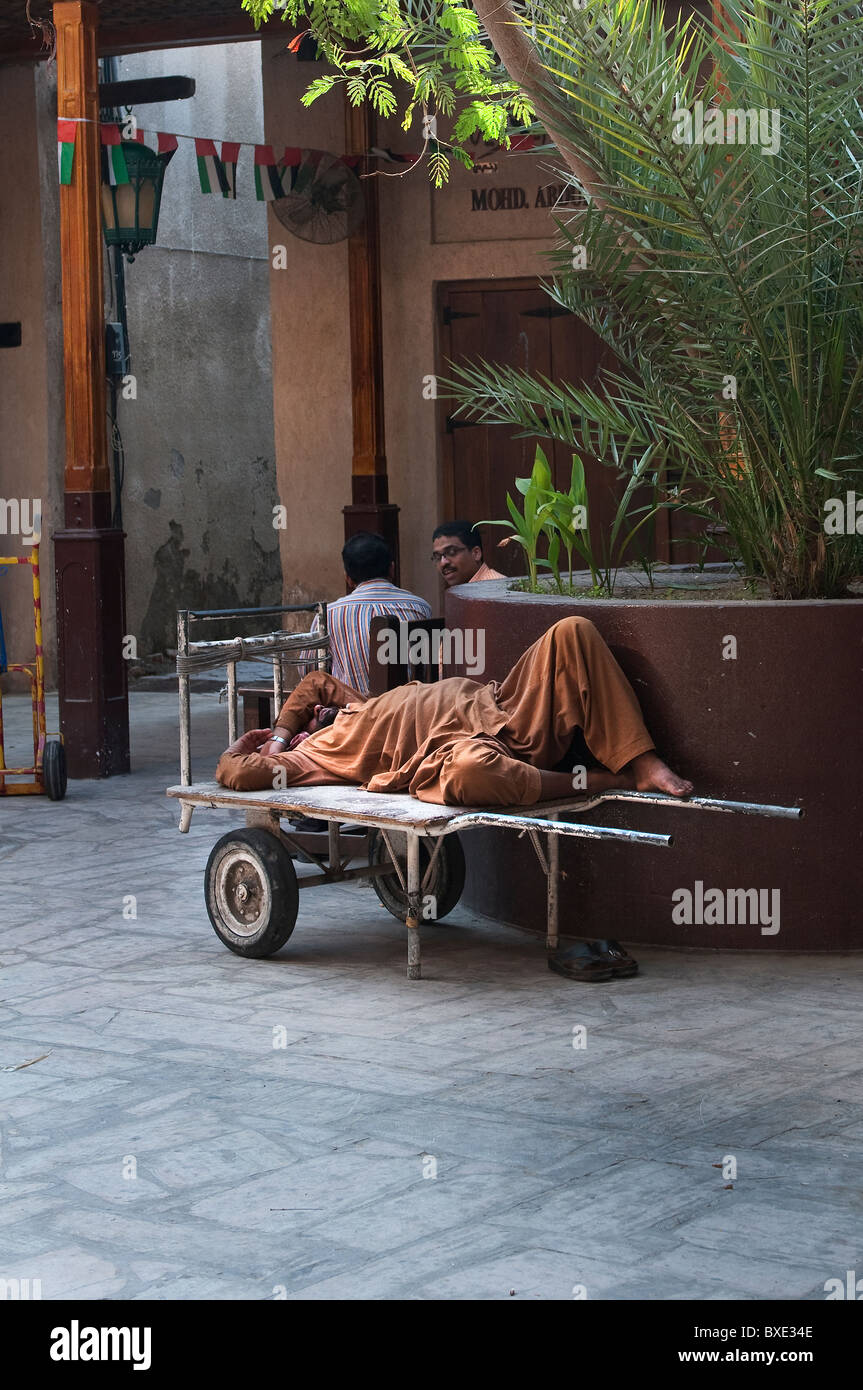 porter workers sleeping in Dubai - Stock Image