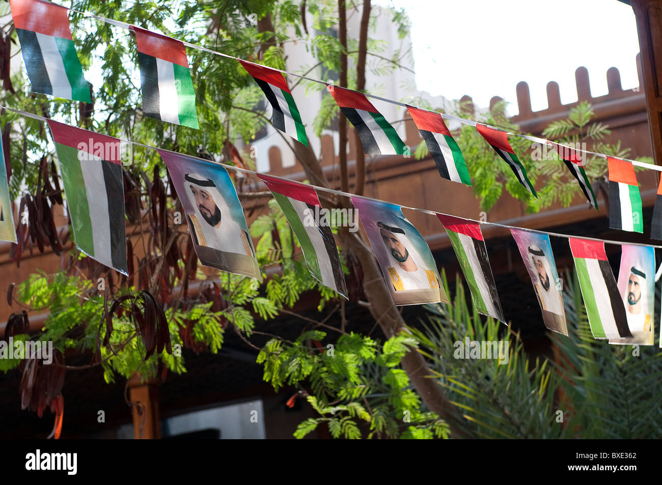 National flags in Dubai Stock Photo