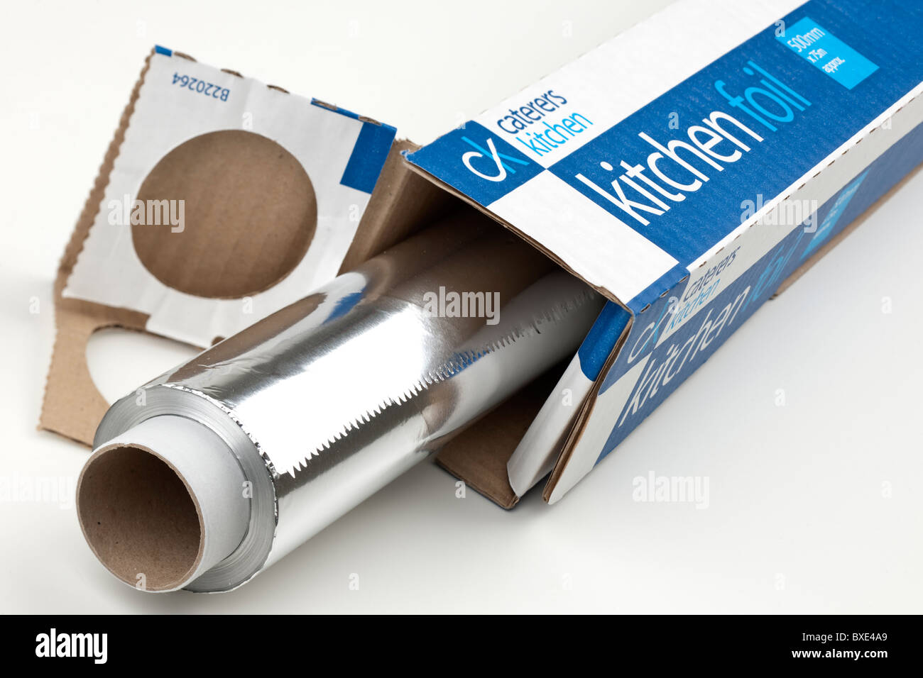 Caterers aluminum kitchen foil 500mm wide by 75 metres in length - Stock Image