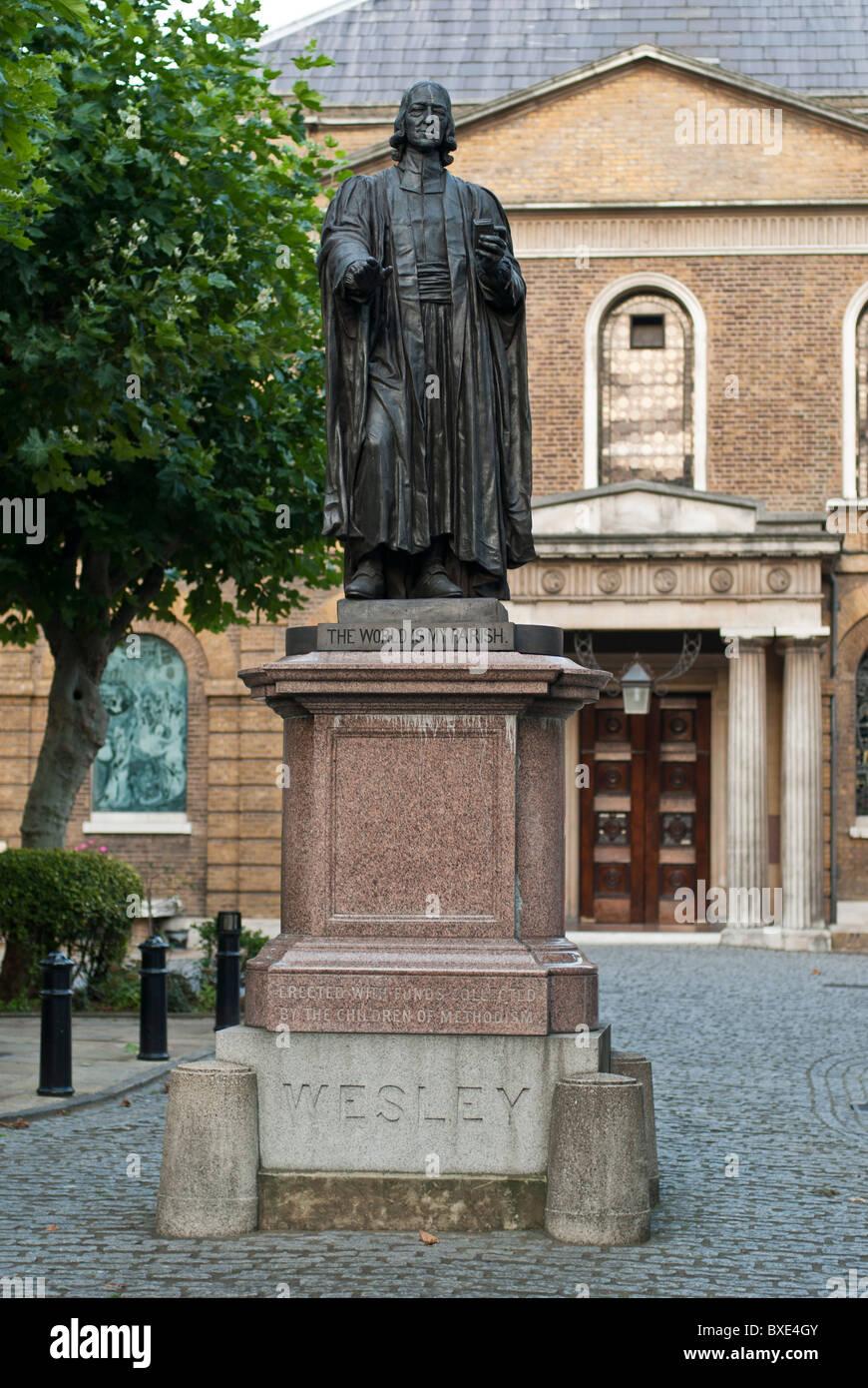 John Wesley (1703- 1791) memorial statue John Wesley Chapel, City Road, London UK - Stock Image