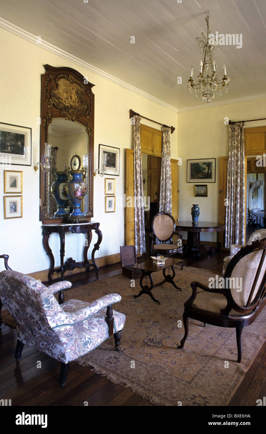 Living Room Or Salon Interior Of Eureka (built 1830) Colonial House, Villa  Or Mansion And Museum, Moka, Mauritius