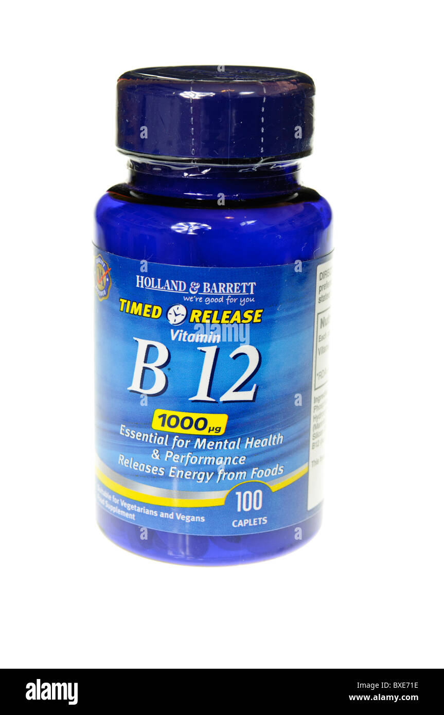 Bottle of Holland and Barrett B12 tablets, 1000 times the recommended daily amount (RDA) for Pernicious Anaemia - Stock Image