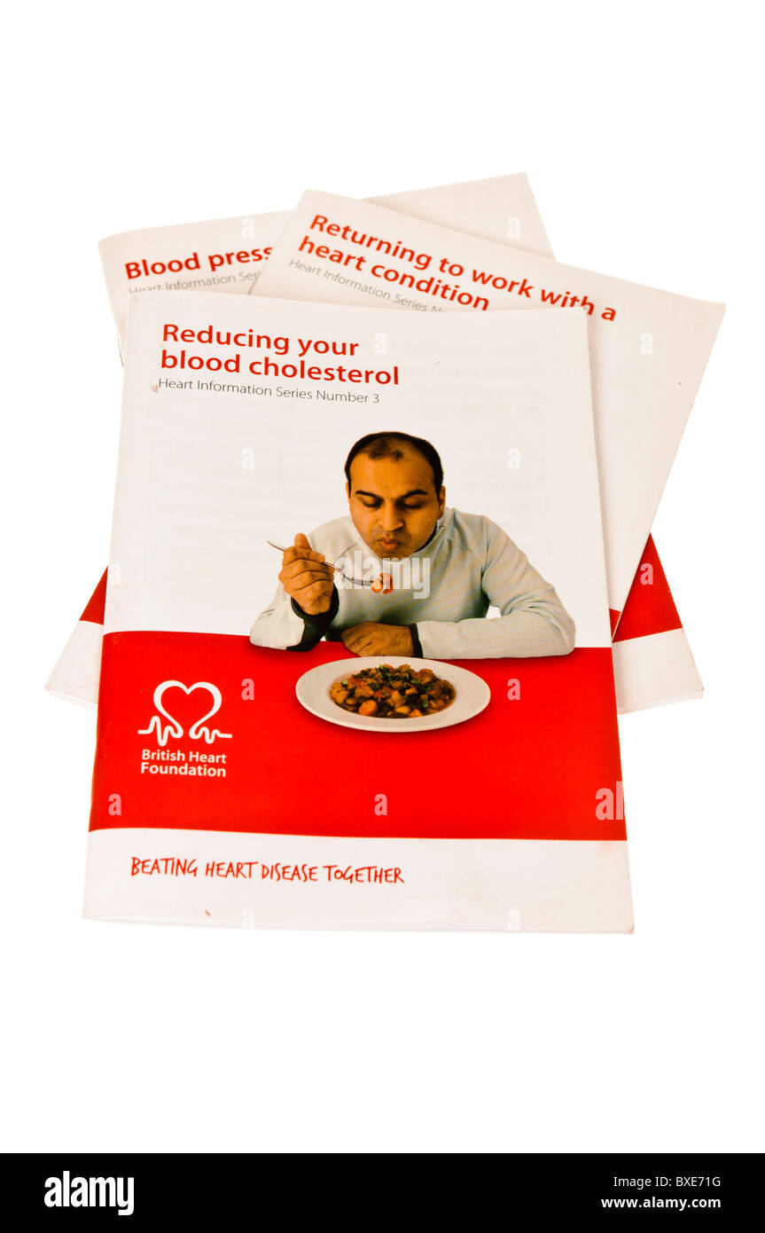 Health information booklets 'Reducing your blood cholesterol', 'Returning to work with a heart condition' - Stock Image
