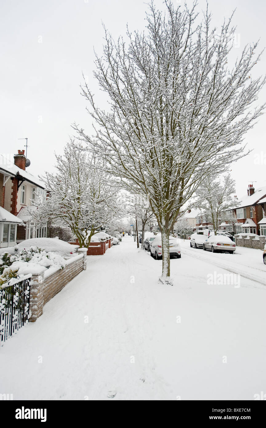 Heavy Snow Fall, London, England, UK Stock Photo