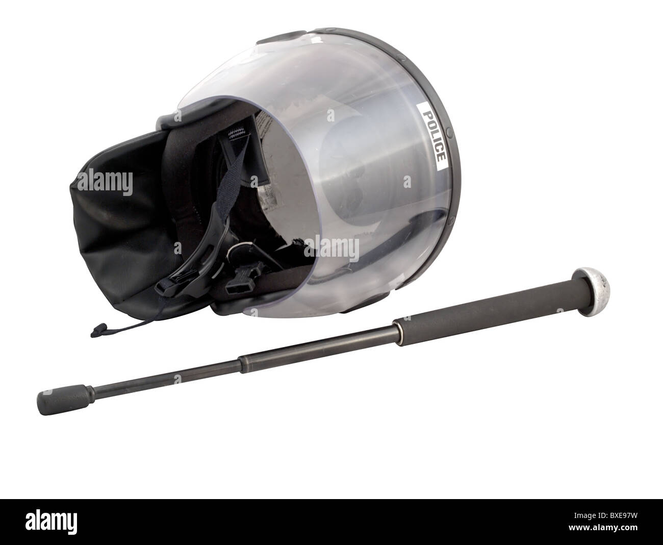 Police riot helmet and baton - isolated over white. - Stock Image