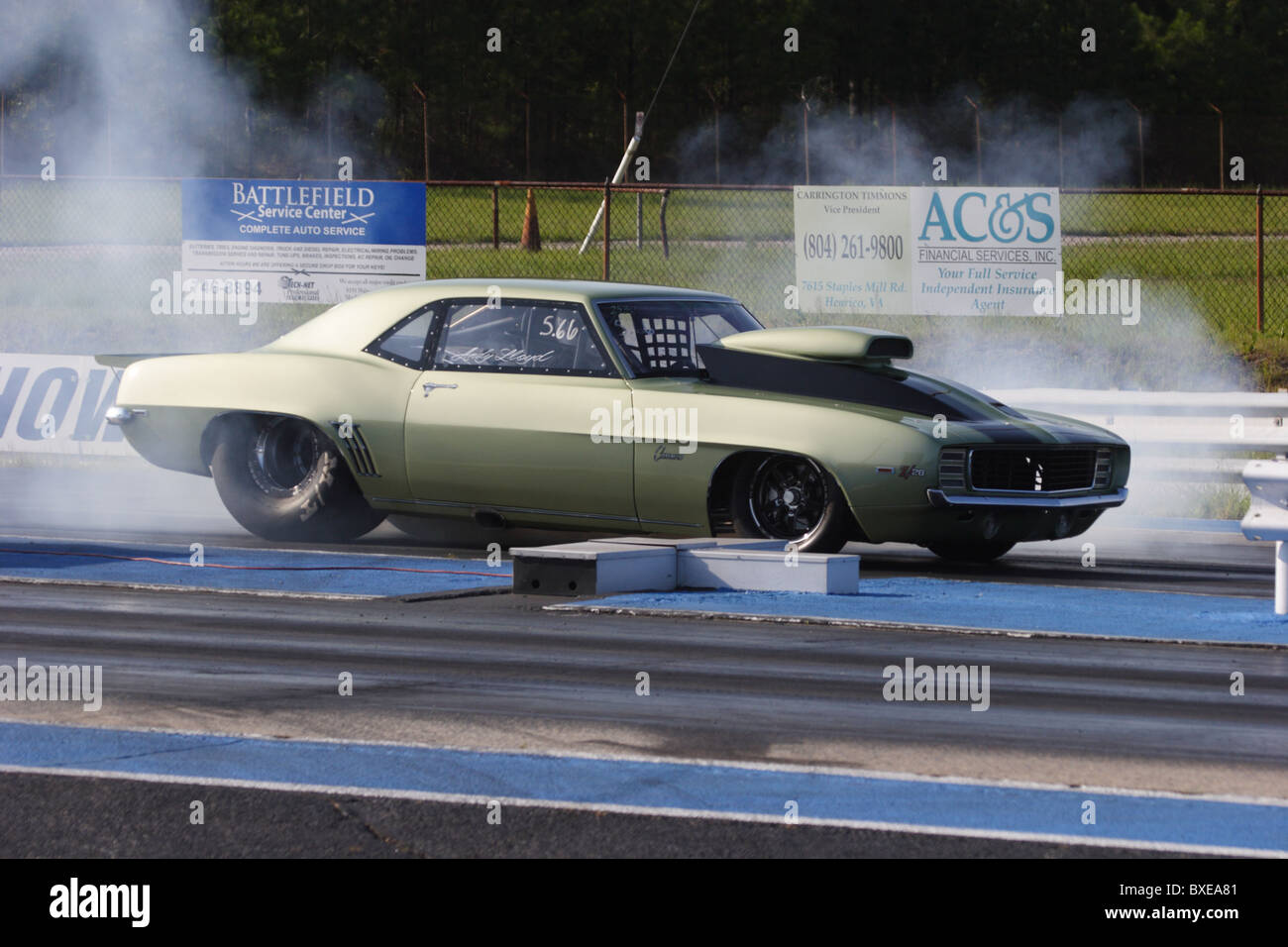 racing car launching at richmond dragway in sandston, virginia stock