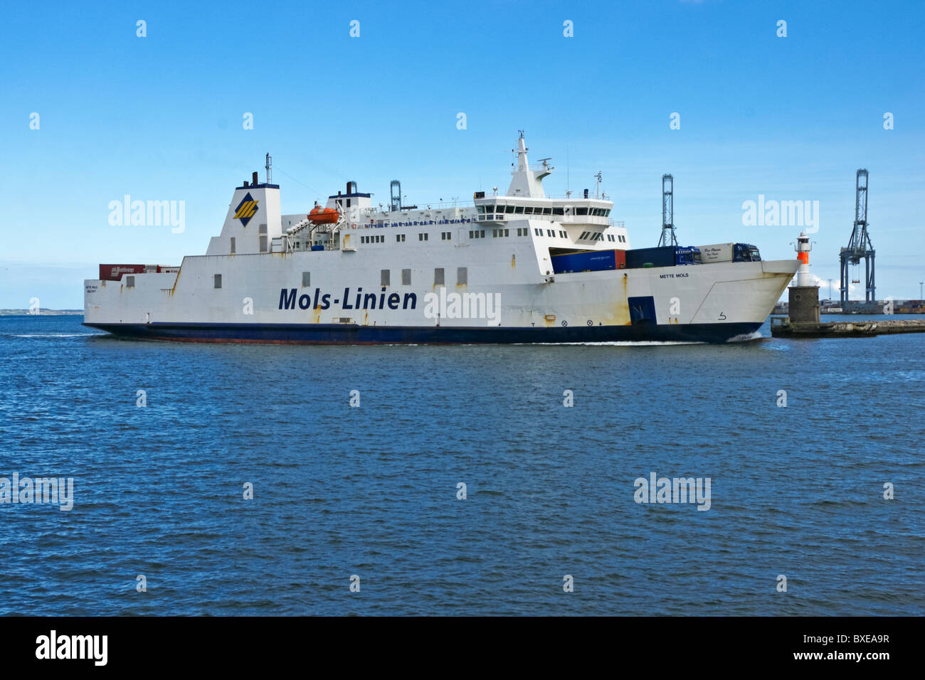 Mols-Linien car and passenger ferry Mette Mols arriving at Aarhus Harbour from Kalundborg in Denmark - Stock Image