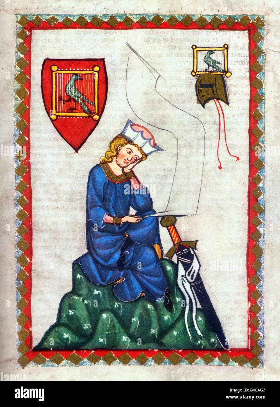Illumination from the 14th Century Codex Manesse; Walther von der Vogelweide; German Lyrical Poet of the 12th and Stock Photo