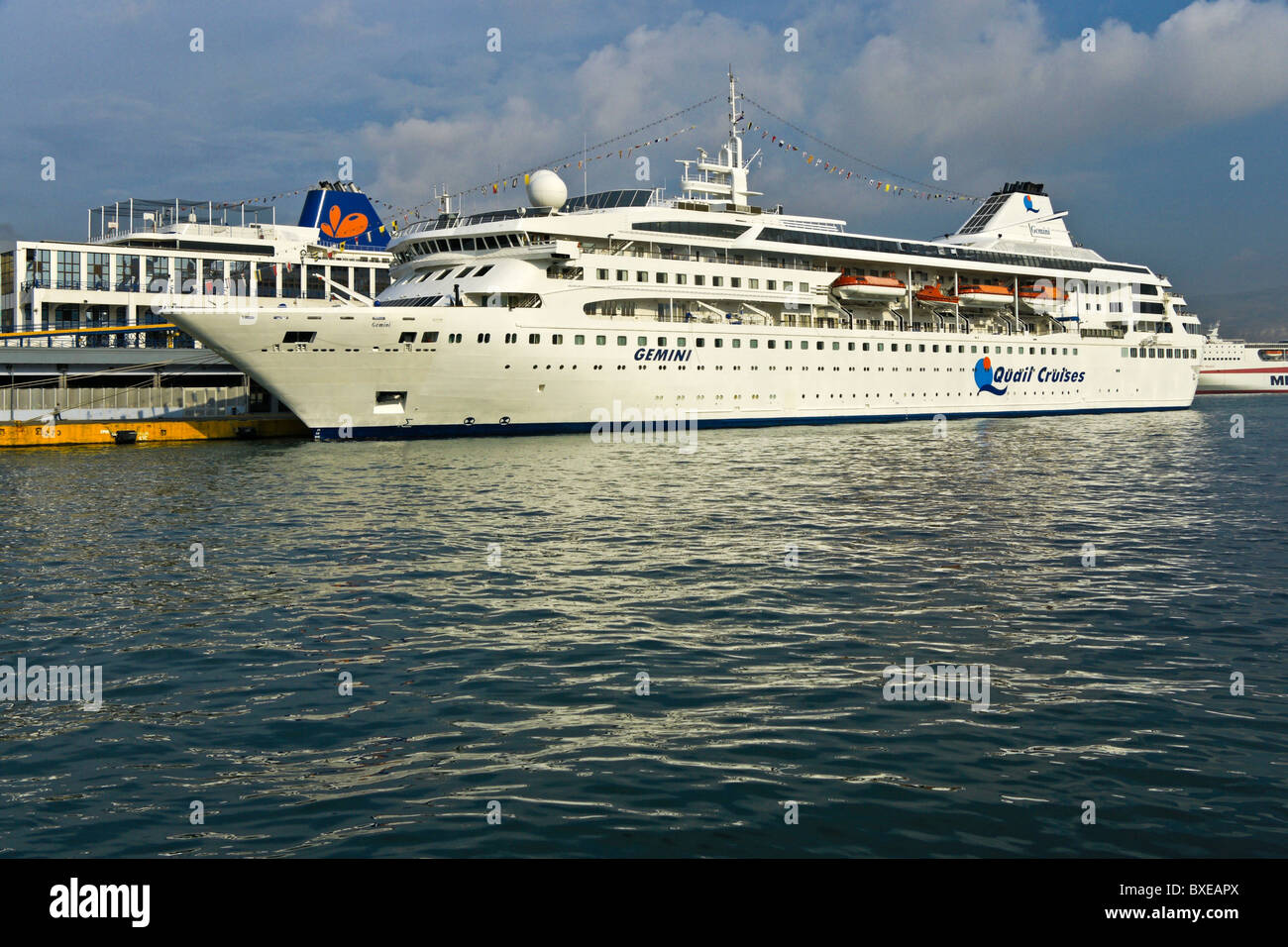 Quail Cruises cruise ship Gemini berthed at terminal in Piraeus Harbour Greece - Stock Image