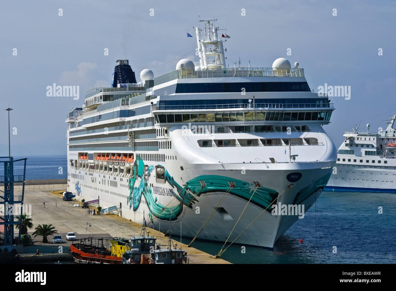 Norwegian Cruise Line cruise ship Norwegian Jade moored in Piraeus Greece - Stock Image