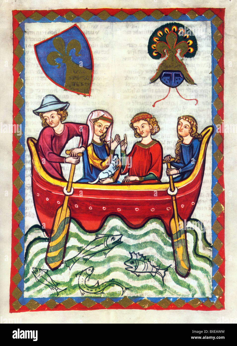 Illumination from the 14th Century Codex Manesse; Herr Nünü - Stock Image