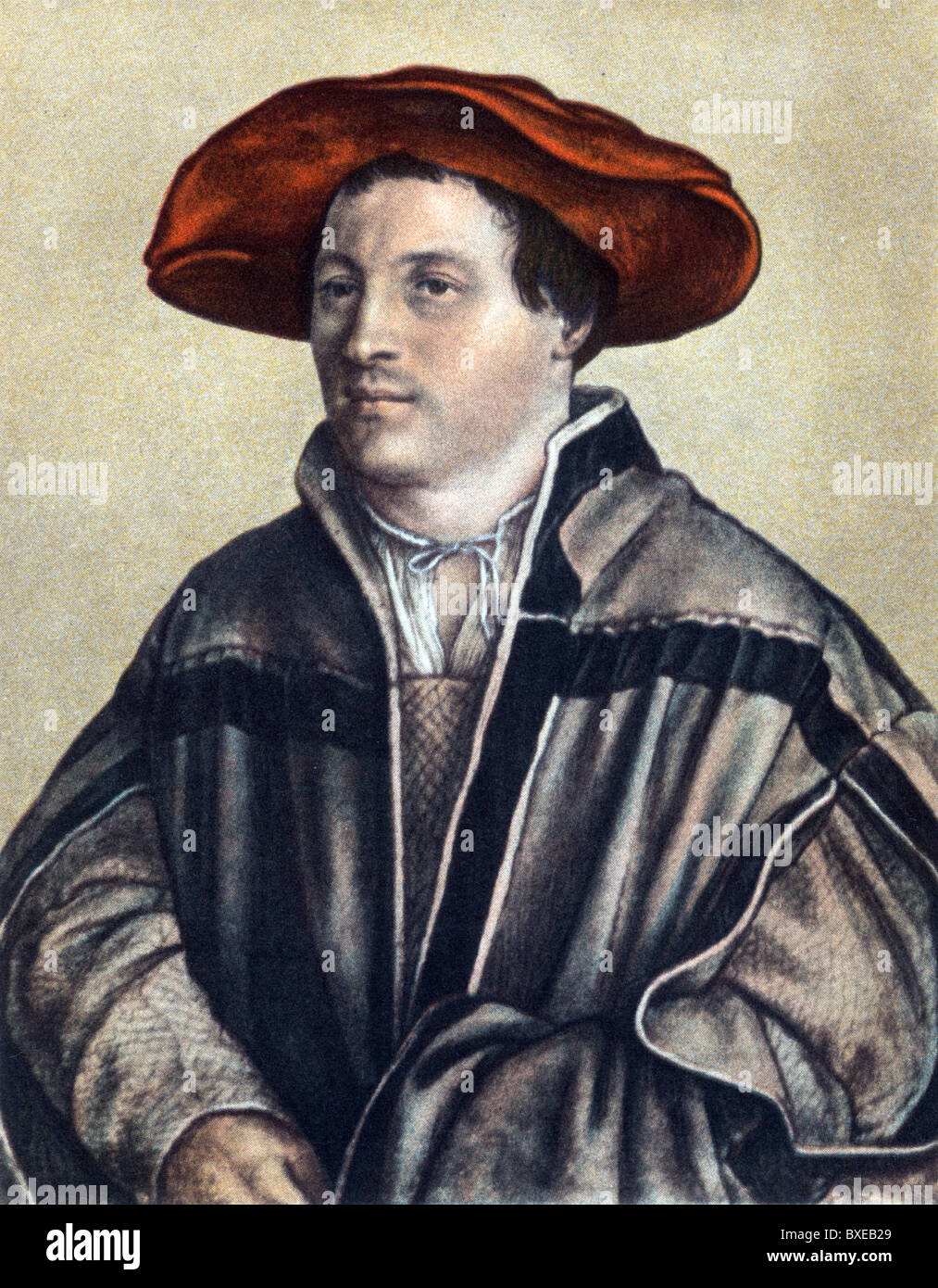 Sketch by Hans Holbein the Younger; Self Portrait; The Artist at the age of 26; Colour Illustration; - Stock Image