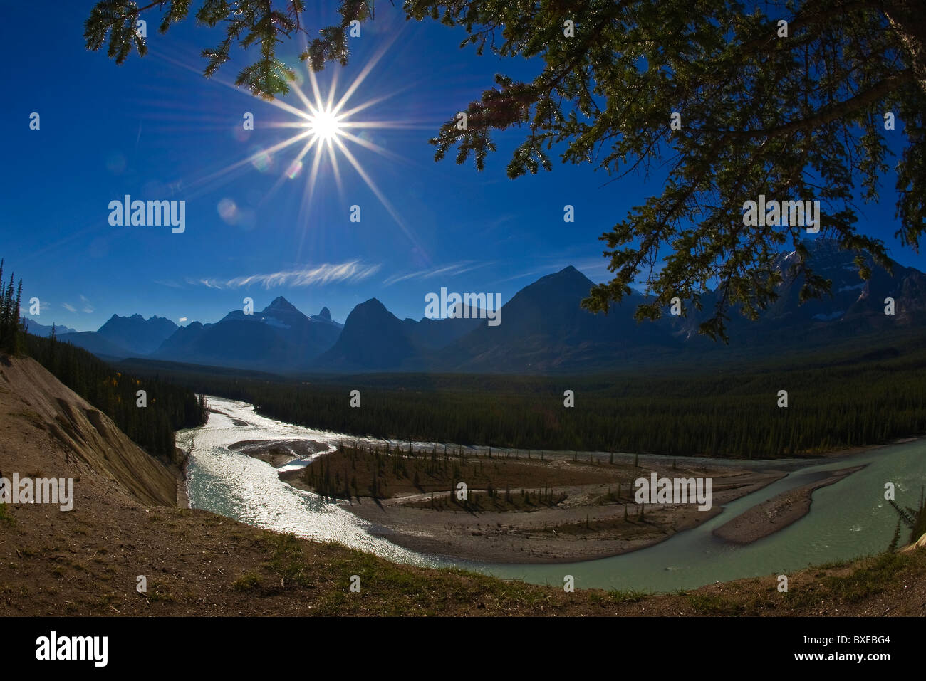 The Canadian Rocky Mountains and the Athabasca River - Stock Image
