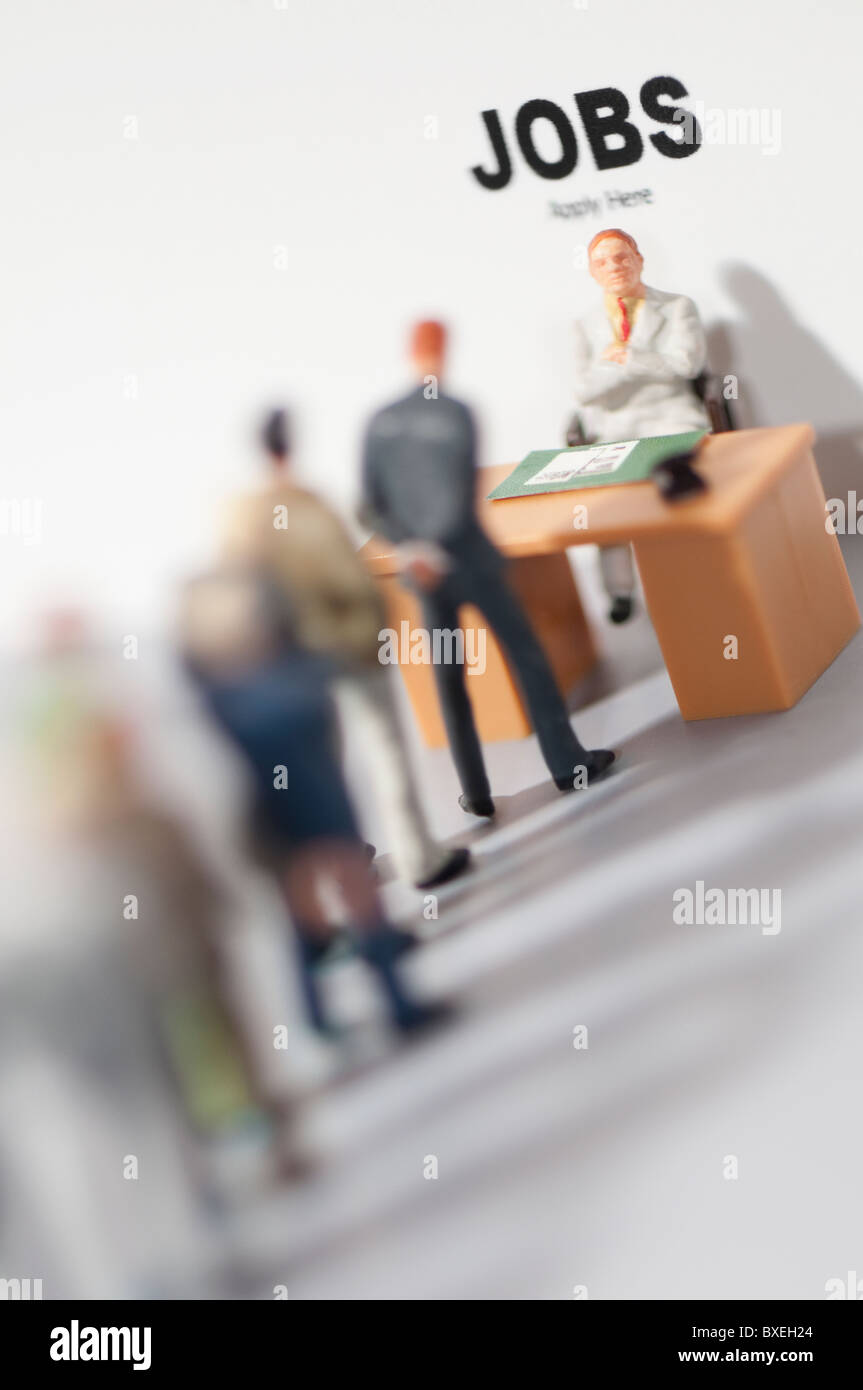 Figurines applying for jobs - Stock Image