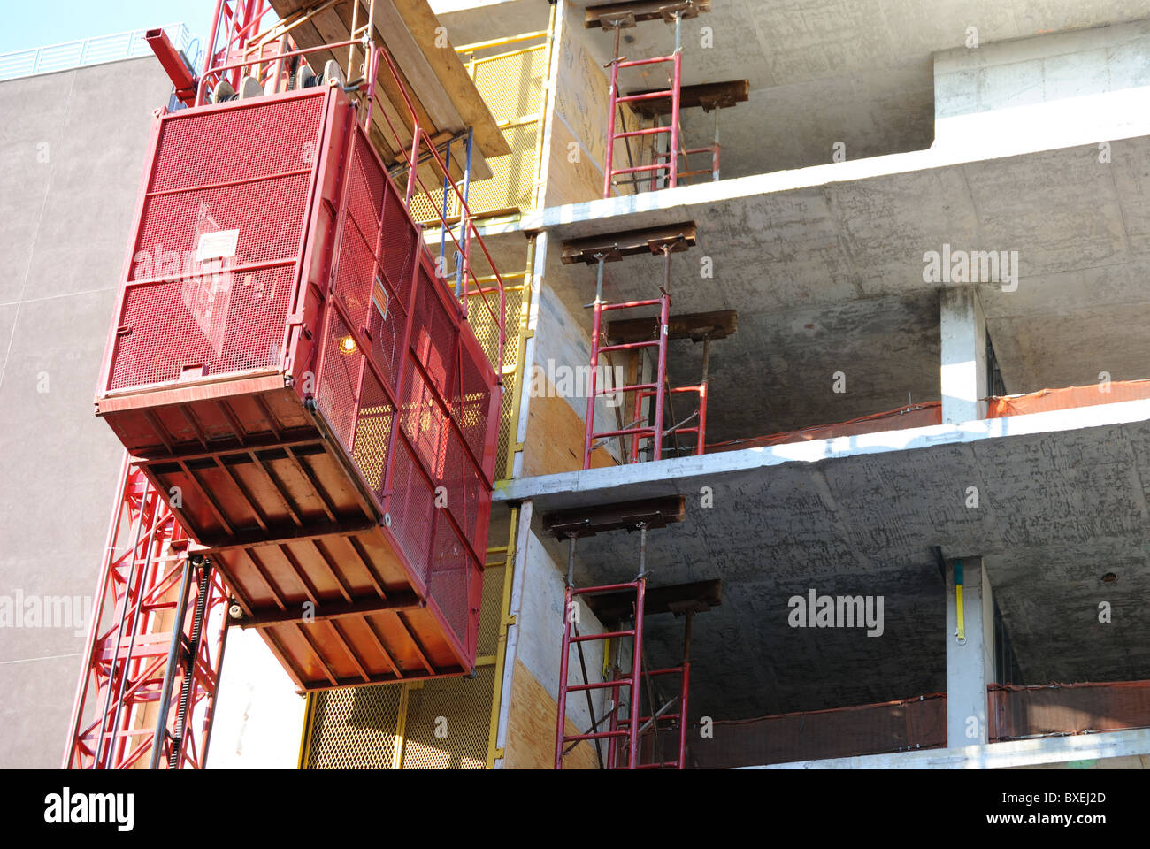 An Elevator Lift On A Building Under Construction Stock Photo