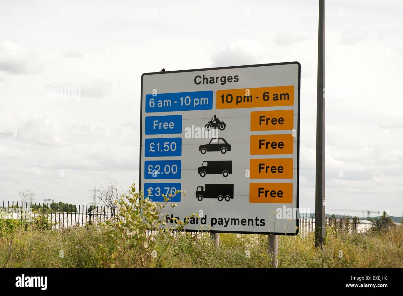 Toll Tariff Sign Dartford Crossing Stock Photo