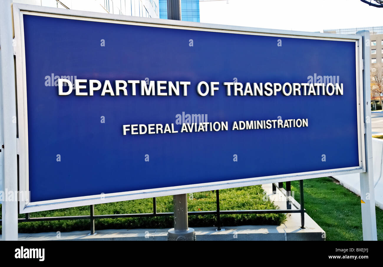 FAA (Federal Aviation Administration), division of DOT (Department of Transportation) sign outside of agency in - Stock Image