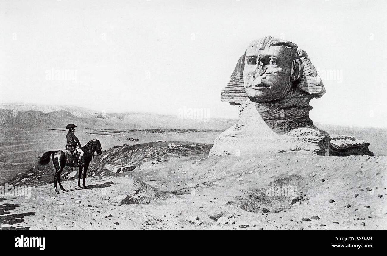 When Napoleon was n Egypt, he toured the ancient sites, including the Sphinx, and had his savants note all pertinent - Stock Image