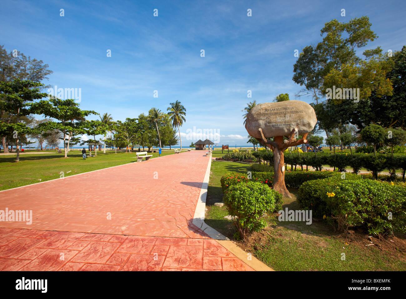 Walkway to Pantai Muara beach, Muara, Brunei Darussalam, Asia - Stock Image