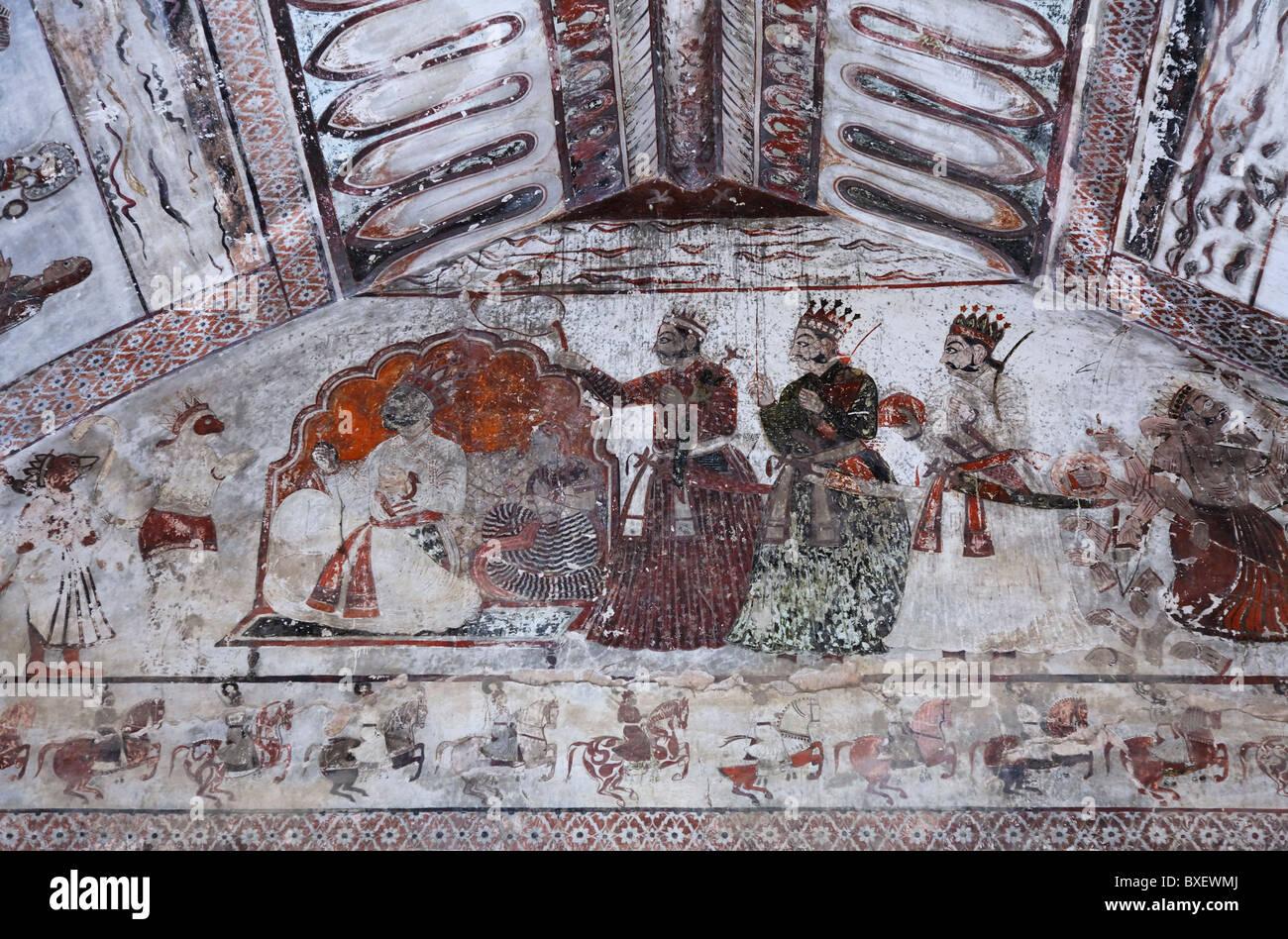 India - Madhya Pradesh - Orchha - wall paintings in the Raj Mahal - Stock Image