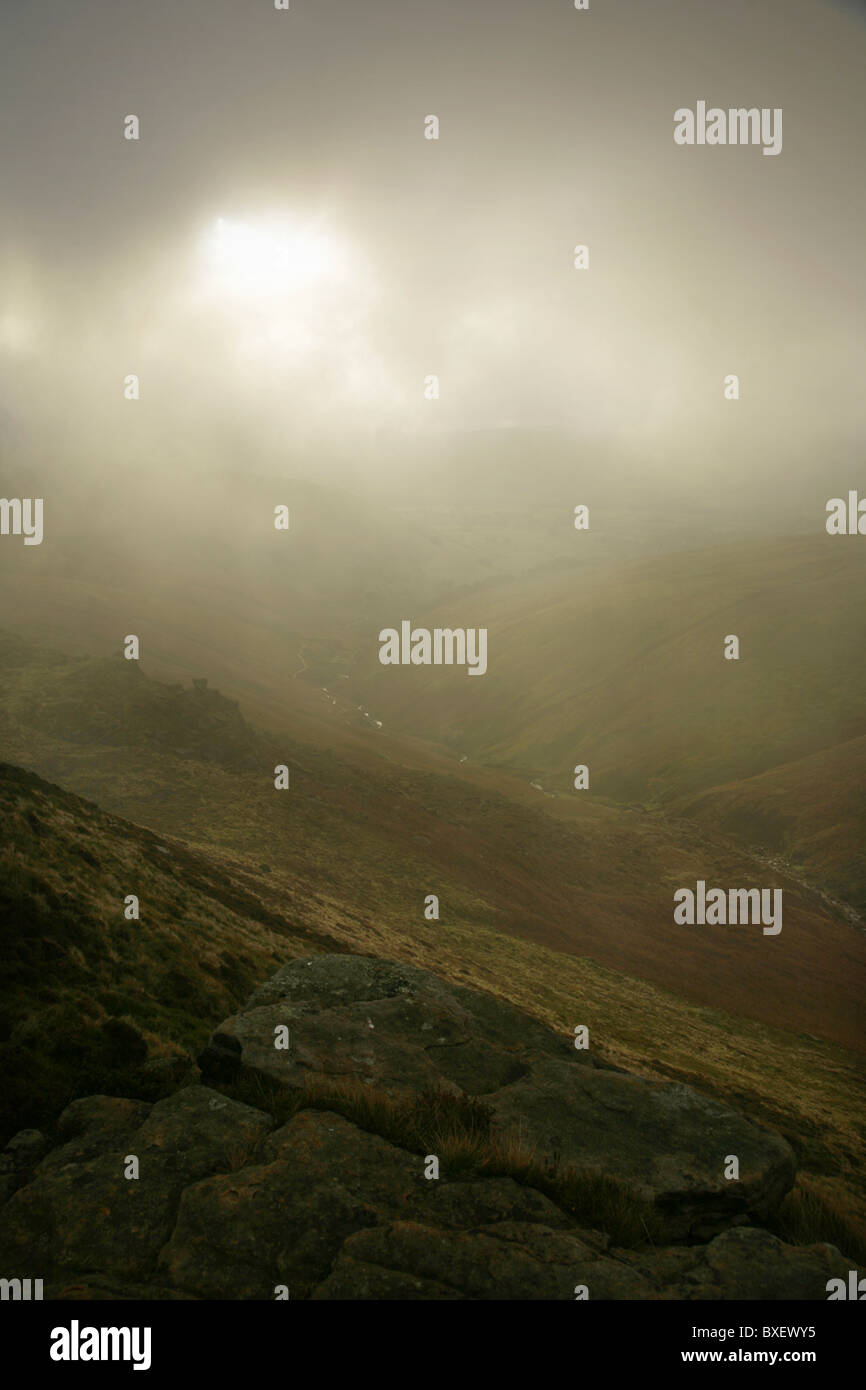 View from the top of Kinder Scout down Grinsdbrook. Peak District, England. - Stock Image