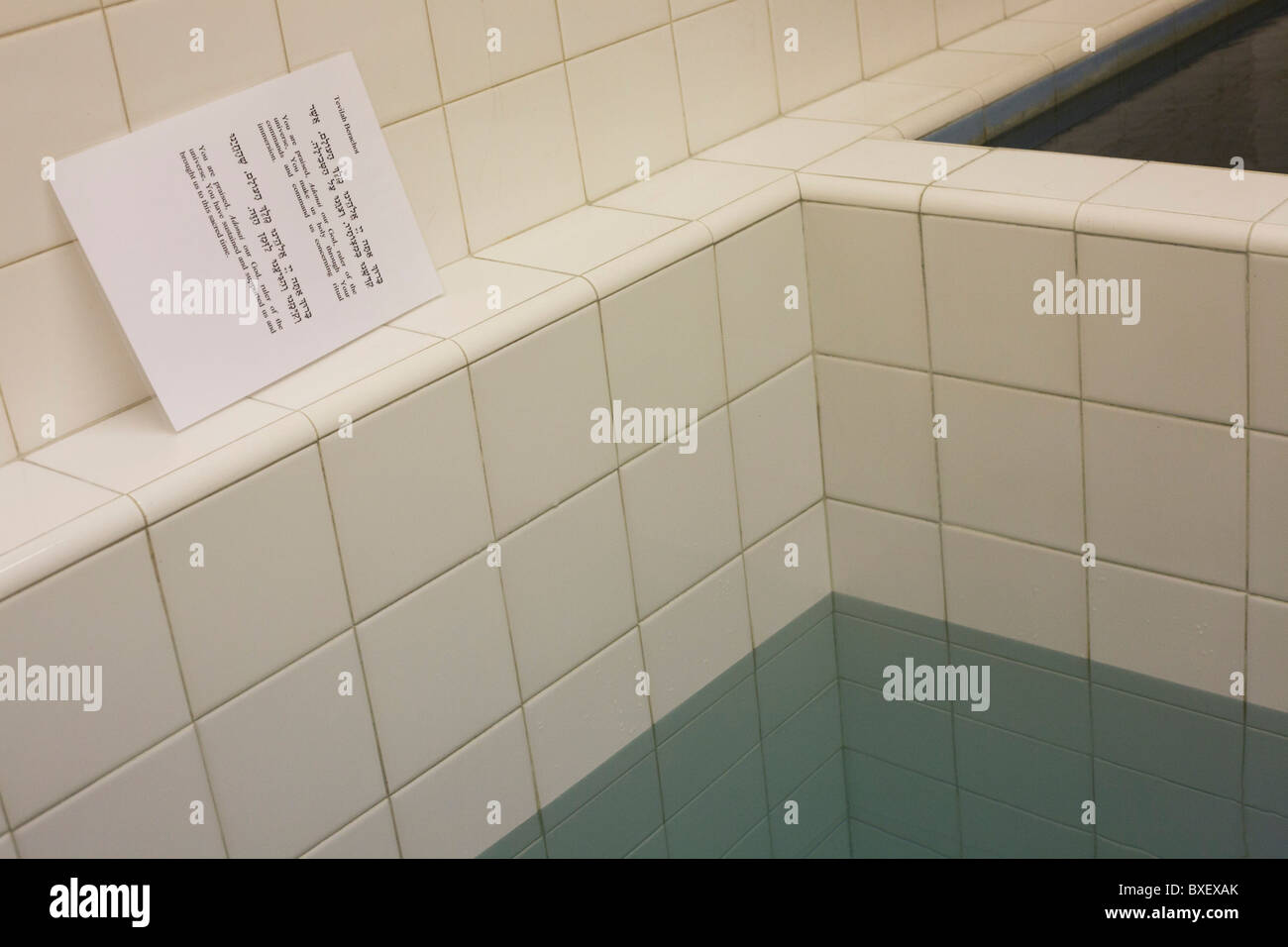 The Jewish faith Mikveh baths where recent converts to Judaism bathe in private, at the Sternberg Centre. London. Stock Photo