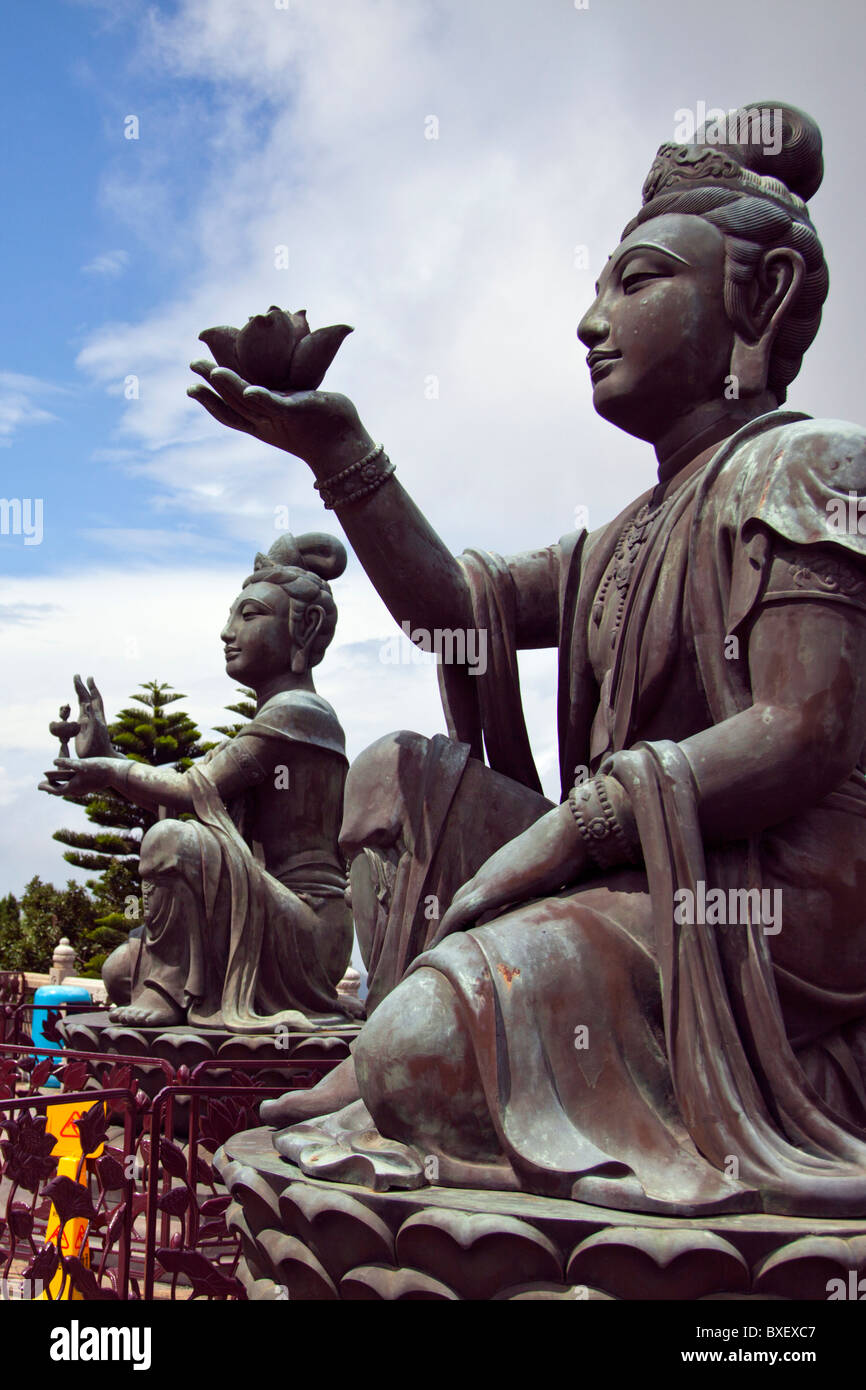 Hong Kong, Lantau island seated bronze statue Buddha, offering to the Buddha - Stock Image