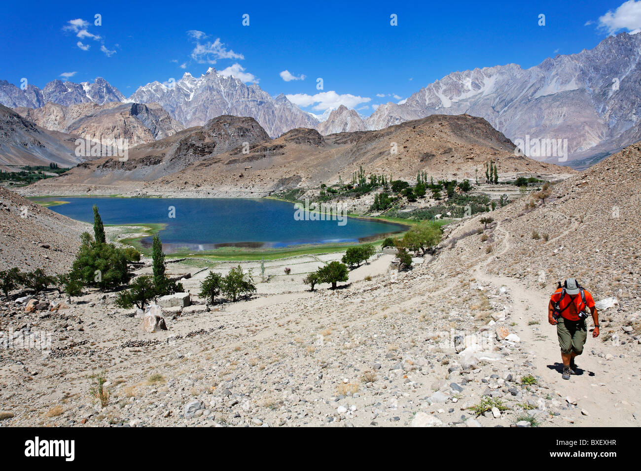 Pakistan - Karakorum - Hunza Valley - Passu - Borith Lake and mountains - Stock Image