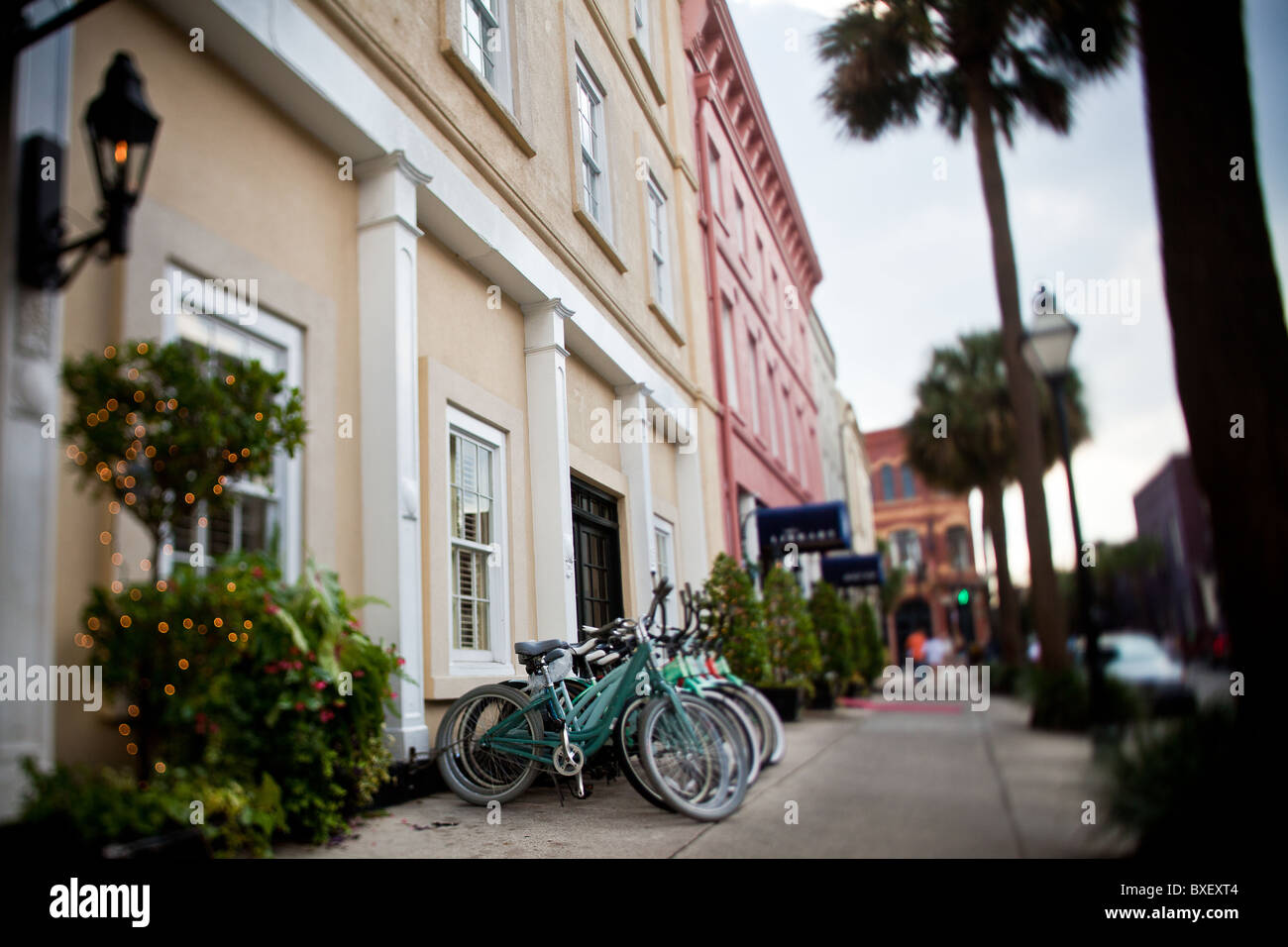 View of the Vendue Hotel and Vendue Range in Charleston, SC. - Stock Image