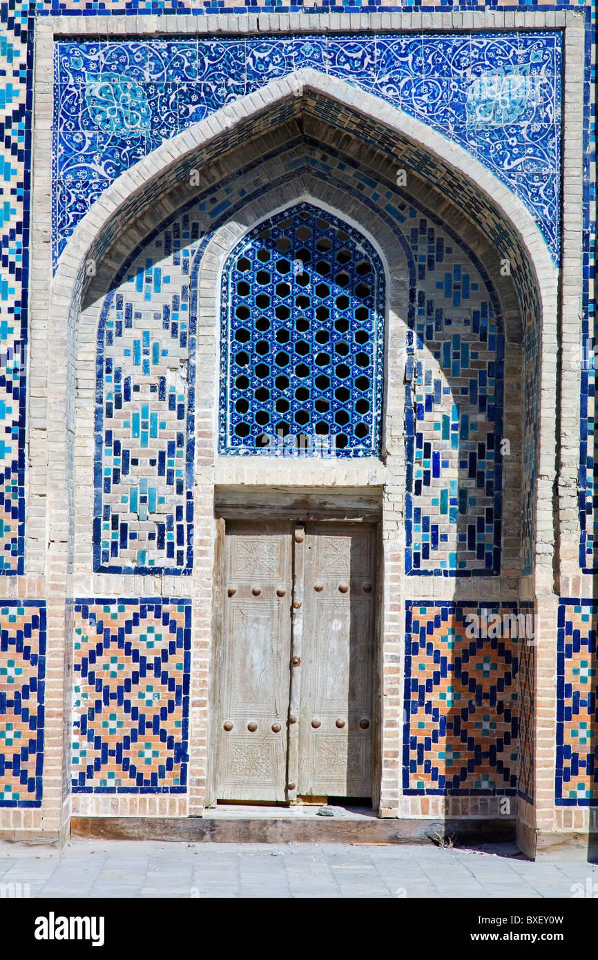Uzbekistan - Bukhara - architectural detail at the Abdullah Khan Medressa - Stock Image