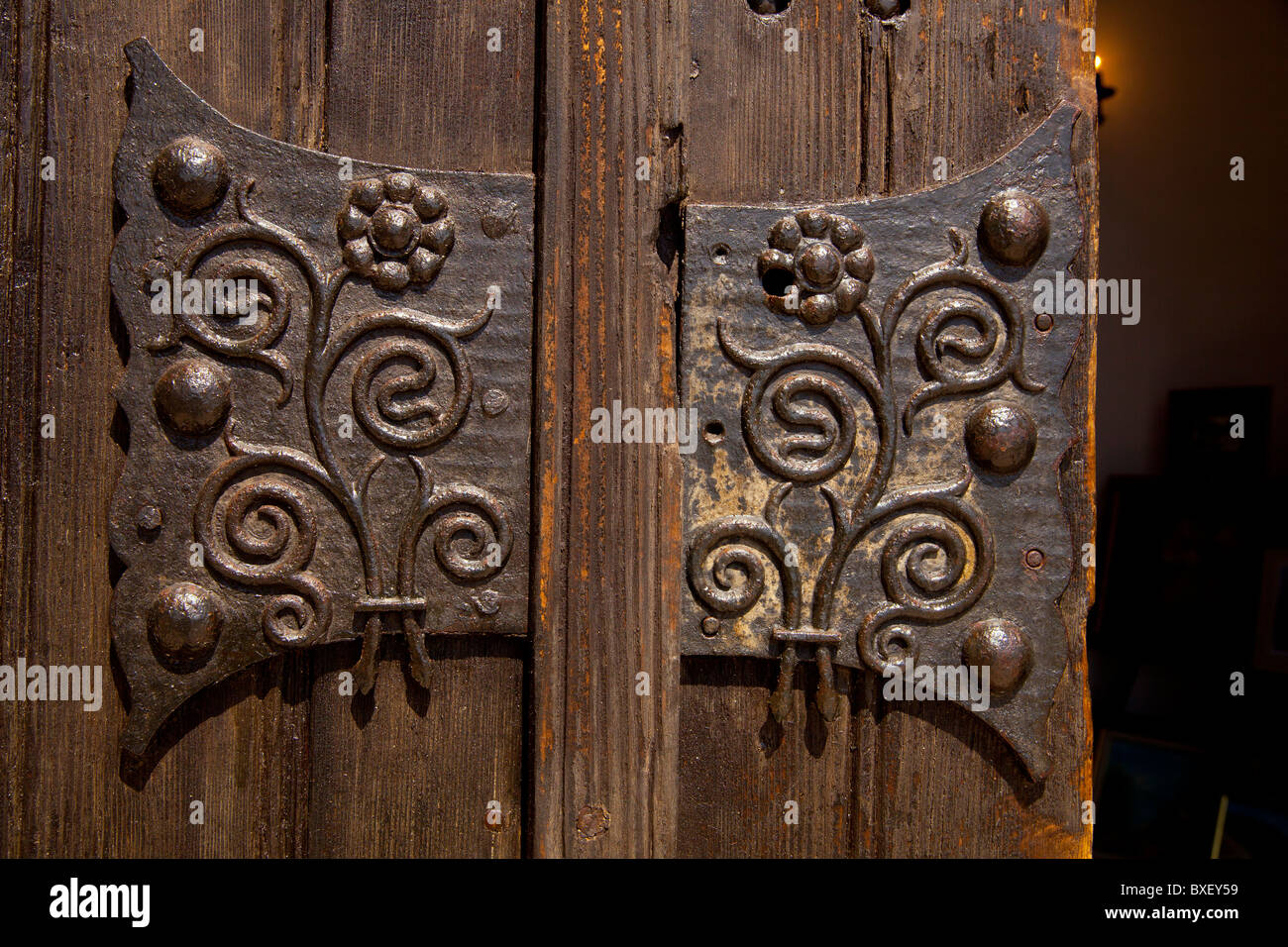 Ironwork on the doors of the Palace of Queen Marie of Roumania in Balchik, Bulgaria - Stock Image