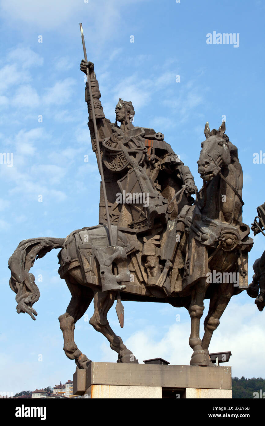 Detail from a statue of the Assen Brothers, Rulers of Bulgaria, in Veliko Turnovo Stock Photo